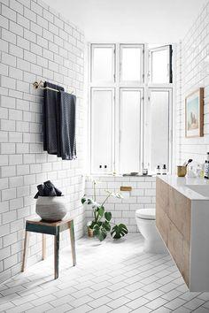 copenhagen bathroom with white subway tile / sfgirlbybay