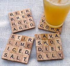 scrabble coasters - great gift idea for dad, grandpa try to pick a game up a thrift stores