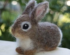 Items similar to Needle Felted Bunny Cottontail Rabbit Baby Young Woodland Animal on Etsy Wool Needle Felting, Wet Felting, Needle Felted Animals, Felt Animals, Felt Bunny, Cute Bunny, Rabbit Baby, Ornamental Grasses, Felt Toys
