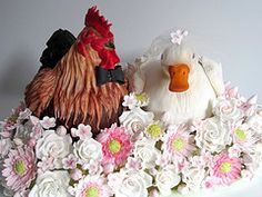 a chicken and a duck get married... (Wicked LIttle Cake Company) Tags: flowers wedding chicken cake duck wicked gumpaste