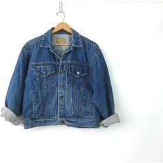 Oversized Denim Trucker Jacket Dark Denim Jean Jacket 90s Cropped Dark... ($48) ❤ liked on Polyvore featuring trucker jacket