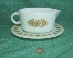 Vintage Pyrex Butterfly Gold Pattern Gravy Boat and Drip Plate - 77B 77U  - Retro Kitchen