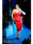 Man Trap Dress in Red Sateen with Peplum