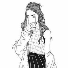 Tumblr Girl Drawing, Tumblr Drawings, Tumblr Art, Girl Drawing Sketches, Girly Drawings, Outline Drawings, Girl Sketch, Pencil Art Drawings, Tumblr Girls