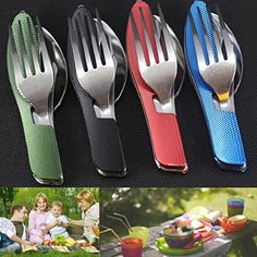 AMA(TM) Stainless Steel Multifunction Pocket Fork Spoon Diner Set Outdoor 3 in1 Folding Spork Travel Camping Tableware Eating Utensil Tool Kit Outdoor Store [gallery]   Description:   100% brand new and prime quality   Made from prime quality stainless steel & Al;  With ultra sharp blade for long time uses  Handy design with ergonomic deal with design  Fork may also be one after the other got rid of down  Portable and easy to take with when go out of doors :folding design with oxford bag…