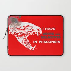 I Have Roots and Relatives in Wisconsin Laptop Sleeve by vikkisalmela, Worldwide shipping available at Society6.com. #Red and #white #Badger #skull and #rose on #technology #accessories, #cases, #homedecor, #fashion and #apparel #accessories. Perfect #gift for the person with family in #Wisconsin.
