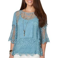 Democracy Womens Crochet Inset Top