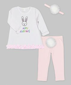 Love this White & Pink 'Happy Easter' Petal Tunic Set - Infant by Truffles Kids on #zulily! #zulilyfinds