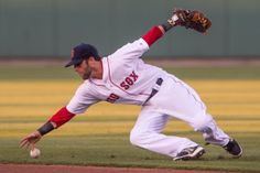 Mar 20, 2014; Fort Myers, FL, USA; Boston Red Sox second baseman Dustin Pedroia (15) attempts to catch the ball against the Boston Red Sox d...