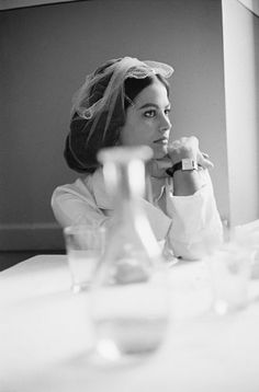 Claudia Cardinale at lunch on the set of THE LEOPARD. Rome, 1962. Photo by Ralph M. Toporoff.