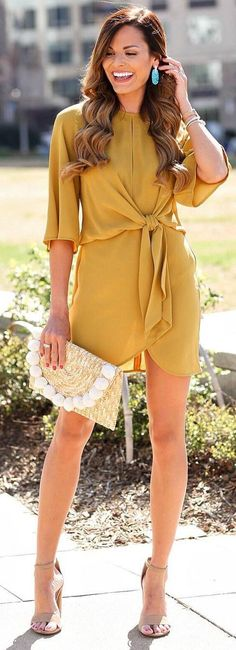 #spring #outfits yellow dress, beige sandals