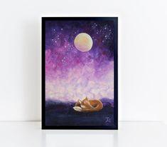 Sleeping Fox Print, Little Fox Painting, Little Fox Art, Fox Wall Art, Fantasy Painting von TerraSomniaArt auf Etsy Sleeping Fox, Fantasy, Museum, Celestial, Etsy, Painting, Outdoor, Animals, Art