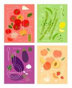 eggplant, tomatoes, asparagus, peaches, and strawberries are featured on these sweet recipe prints! WANT! illustrations for http://www.papyrusonline.com/