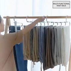 No need to iron your clothes! Always keep your clothes tidy! Stylish and Durable: Our metallic Pants Rack is durable, rustproof, and stylish. Space Saving Design: The adjustable storage rack can b Bedroom Closet Design, Home Room Design, Closet Designs, Organizar Closet, Pants Rack, Closet Storage, Storage Rack, Storage Ideas, Scarf Storage