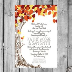 falling in love trees | Fall Love Tree Wedding Invitation Set by ChristinaElizabethD