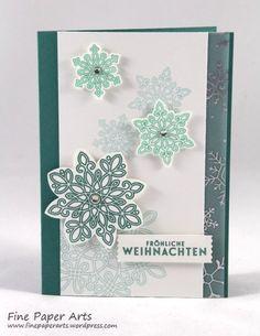 Stampin up,Weihnachtskarte, Christmas card, Stempelset Flockenzauber, Stanze Schneeflocken, Flurry of Wishes, Snow Flurry Punch - Fine Paper Arts