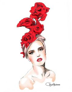 LEONID GUREVICH portrait of Natalia Vodianova wearing a hat by Anya Caliendo Couture Millinery Atelier