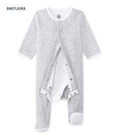 Exclu web - Bodyjama Bébé mixte gris Beluga   blanc Ecume - Petit Bateau 2b0e617784d