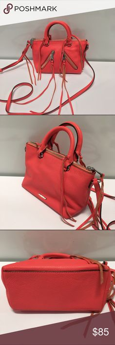 "Rebecca Minkoff Micro Moto Satchel Crossbody A micro take on the Moto Satchel. Brand new without tags! Unused, unworn, in perfect condition. New blemishes, stains or dents in leather. Color: bright coral (peach/pink)  with silver-tone hardware. 8""W x 6""H x 4""D. Genuine leather. 22"" adjustable shoulder strap. 4"" handle drop. Two exterior zipper pockets. Top zipper closure. Two interior slip pockets. 1 interior zipper pocket. Original retail $195 + tax. Rebecca Minkoff Bags Crossbody Bags"