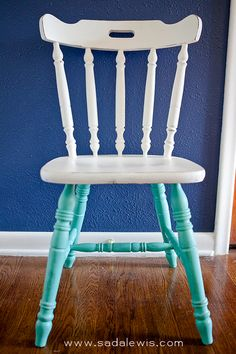 DIY Two Tone Chair Martha Stewart Taraucana Teal Paint The back spindles would be cute in turq. too. #diy