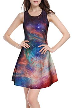 f4448e73ff Vograce Womens Girls Galaxy Cosmos Printed Pleated Flared.