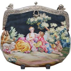 Antique French Aubusson Tapestry Purse Lovers Lamb and Dog