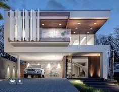 Designed by e # arquitetura # Bungalow Haus Design, Duplex House Design, House Front Design, Modern House Design, Facade Design, Exterior Design, Modern Architecture House, Architecture Design, Modern House Facades