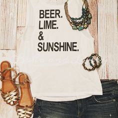 Beer Lime and Sunshine Tank by bohoandlovely on Etsy