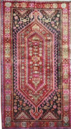 SEMI-ANTIQUE PERSIAN HAMADAN AREA RUG 48456 - AREA RUG This beautiful Handmade Knotted Rectangular rug is approximately 4 x 7 Semi-antique area rug from our large collection of handmade area rugs with Persian Hamadan style from Iran/Persia with Wool