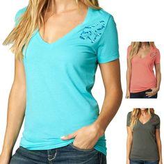 Fox Racing Riser Women's Ladies Casual V Neck Short Sleeve Shirt Tee Top