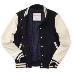 Aeropostale Wool Varsity Jacket ($58) ❤ liked on Polyvore featuring outerwear, jackets, tops, abrigos, wool jacket, woolen jacket, varsity-style bomber jacket, aéropostale and teddy jacket