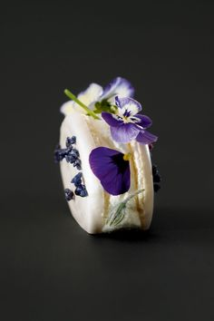 Vanilla cream and blueberry confit with violet macaroni - Christophe Adam