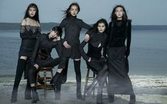 Shu Pei Qin, Liu Wen, Ming Xi, Fei Fei Sun and Tao Okamoto by Peter Lindbergh for Vogue China September 2010.  Fashion editor: Nicoletta Santoro  Hair stylist: Didier Malige  Makeup artist: Stéphane Marais