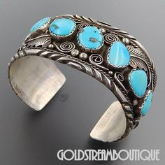 Native American Arnold Maloney Navajo Sterling Silver 7 Turquoise Stones Wide Heavy Cuff Bracelet