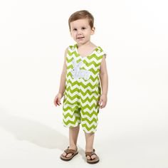 Boys Lime Chevron Shortall