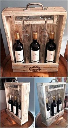 pallets wood bottle and glass holder #woodworkingprojects