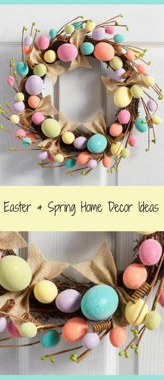 Spring and Easter wreath, chock-full of colorful eggs, springy curlicues and natural burlap bows. #easter #spring #ad #decor #ideas #love #interiordesign #budget #sale