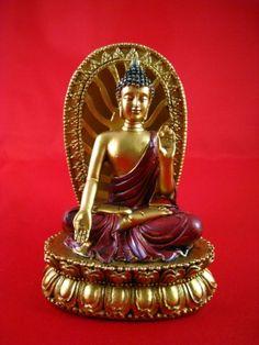 BUDDHA FIGUR auf einem SOCKEL Sitzend blauen LED beleuchtet DEKO Feng Shui ASIEN