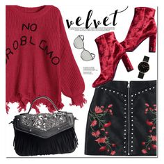 """""""Crushing on Velvet"""" by oshint ❤ liked on Polyvore featuring Yves Saint Laurent and CLUSE"""