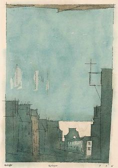huariqueje:    Quimper  -   Lyonel Feininger  1931 American   1871-1956 Watercolor, pen, and ink on paper 18 5/8 x 11 ¼ in. (47.3 x 28.6 cm)