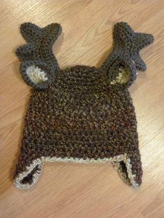 Rudolf, moose, or deer crocheted hat