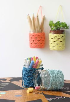 Art jar cozies that hang! So cute.