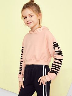 To find out about the Girls Letter Sleeve Hoodie Sweatshirt at SHEIN, part of our latest Girls Sweatshirts ready to shop online today! Cute Girl Outfits, Kids Outfits Girls, Cute Outfits For Kids, Cute Casual Outfits, Girls Dresses, Clothes For Kids, Girls Fashion Clothes, Tween Fashion, Teen Fashion Outfits