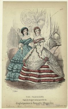 February ballgowns, 1862 England, Englishwoman's Domestic Magazine - my mum had had a book of these magazines - someone had had them bound into a book. I loved looking at the fashion plates. Civil War Fashion, 1800s Fashion, 19th Century Fashion, Victorian Women, Victorian Fashion, Vintage Fashion, French Fashion, Historical Costume, Historical Clothing