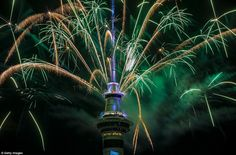 Auckland, in New Zealand, was the first major city to ring in 2017. At 11am GMT, five hundred kilos of fireworks were blasted from the city's Sky Tower in just five minutes