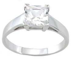1 Carat Princess Cut CZ Engagement Ring
