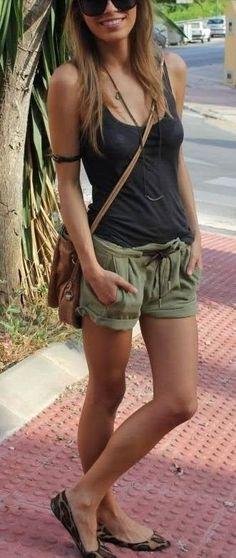 summer fashion military green shorts black top