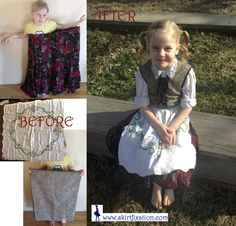 Amazing upcycle to make German girl costume like Gretl from The Sound of Music!
