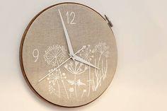 Framegroup / Lúčny sen, ručne vyšívané nástenné hodiny Clock, Vase, Handmade, Dining Room, Felt, Embroidery, Craft, Kitchen, Fabric
