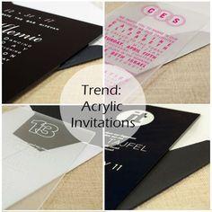 Invitation Trends: Acrylic Invitations, Wedding, Bar & Bat Mitzvah. View Top 4 Invitation Styles - http://www.mazelmoments.com/blog/16492/invitations-bar-mitzvah-bat-mitzvah-wedding/